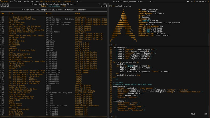 Distro: Archlinux Wm: awesome File manager: Thunar Terminal Emulator: urxvt Editor: Vim Player: ncmpcpp (mpd) Gtk: Neutrality mod Daes Icons: tok tok rc.lua: [link] Theme: [link] Xresources: [link]