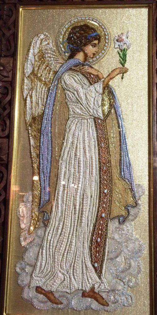 Icon Embroidery Art workshop by Natalia Gorkovenko 'Prikosnovenie' (touch). Moscow, Russia
