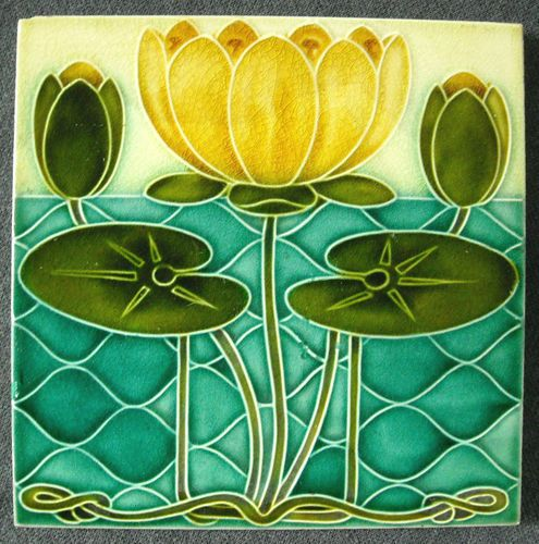 Like shape of water. ANTIQUE PILKINGTON'S ENGLAND - ART NOUVEAU MAJOLICA TILE C1900