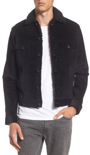 Naked & Famous Denim Men's Corduroy Jacket With Faux Shearling Trim