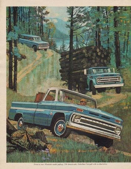 "1963 CHEVROLET vintage print advertisement ""model year 1964"" ~ Information for owners of older trucks about Chevrolet Trucks for '64 ... Illustration: Fleetside model pickup, C80 chassis-cab, Suburban Carryall with 4-wheel drive ... Chevrolet -- Quality Trucks Always Cost Less! ~"