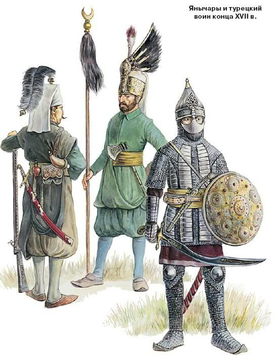 A Sipahi cavalryman on the right, and two Janissaries.