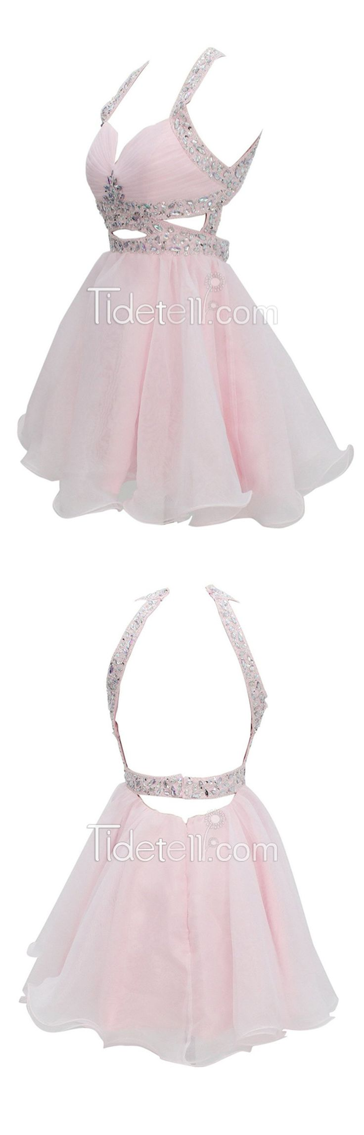 Backless A-line Organza Sweetheart Empire Short Homecoming Dresses Ruched Hollow