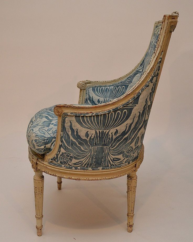 Buy online, view images and see past prices for Painted French arm chair with blue Fortuny fabric, 41