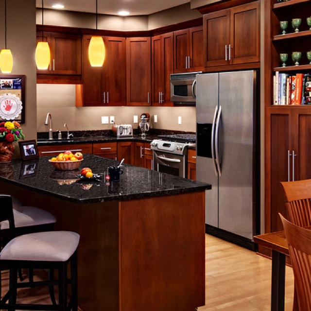 Cherry Kitchen Cabinets Black Granite Counters Cherry Kitchen