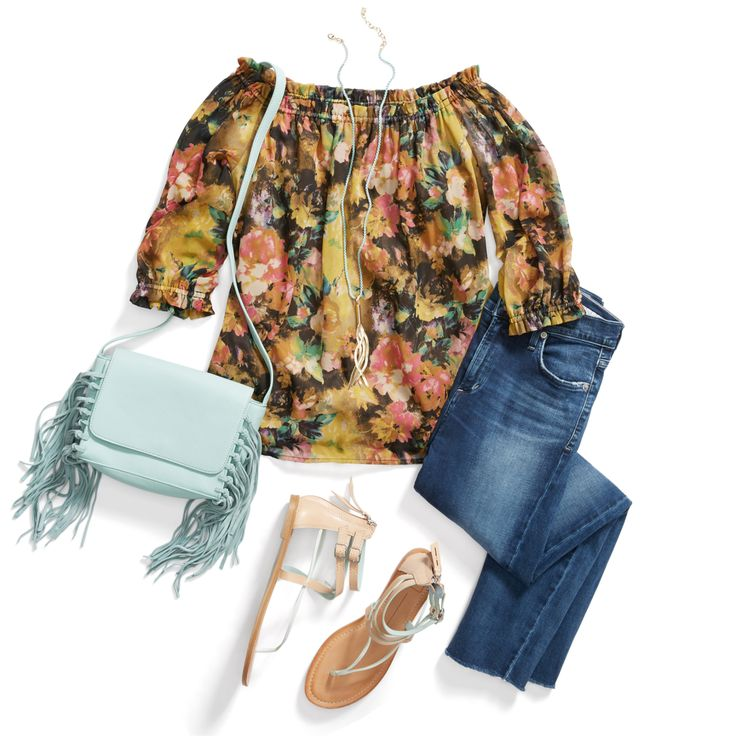 I love this look!  The floral off the shoulder is beautiful with jeans and sandals.  I would not have chosen that color of purse but I really like it.  I do not need this now because the weather is too hot!
