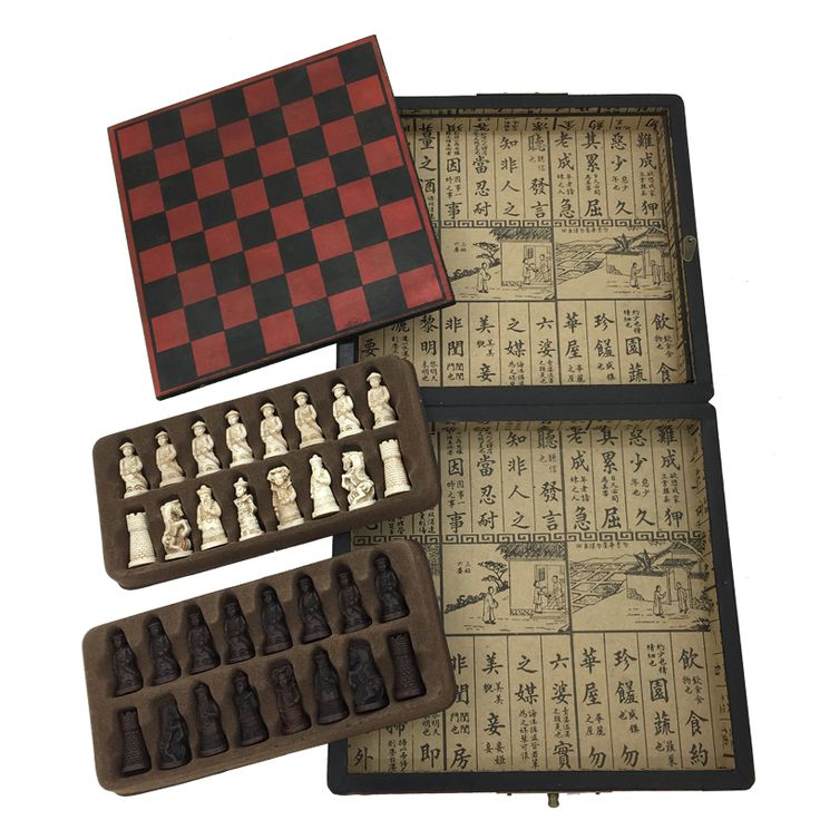 2017 New Arrived Antique Chess Games Ajedrez Board Game Wooden Box Chess Set
