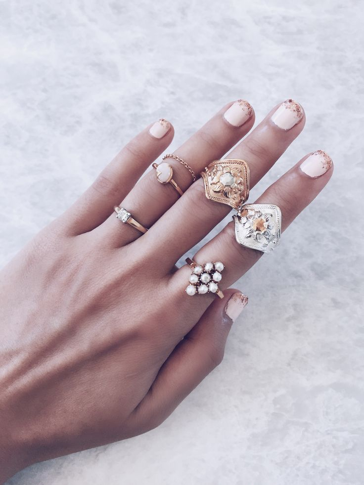 Stacking rings in gold and silver. Beautiful modern rings finely crafted with opals, luminous pearls and diamonds. Shop these gorgeous designs via link | Au Revoir Les Filles #gem