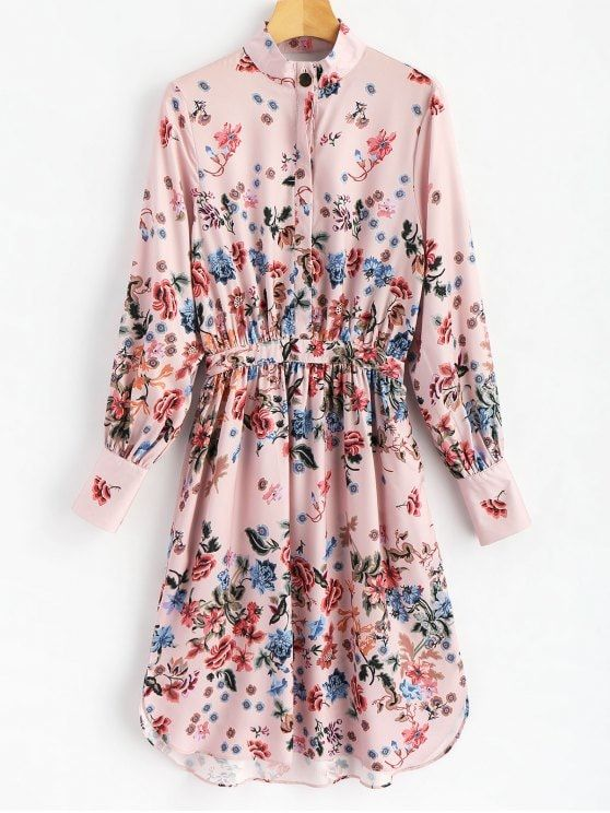 Half Buttoned Floral Shirt Dress - FLORAL XL