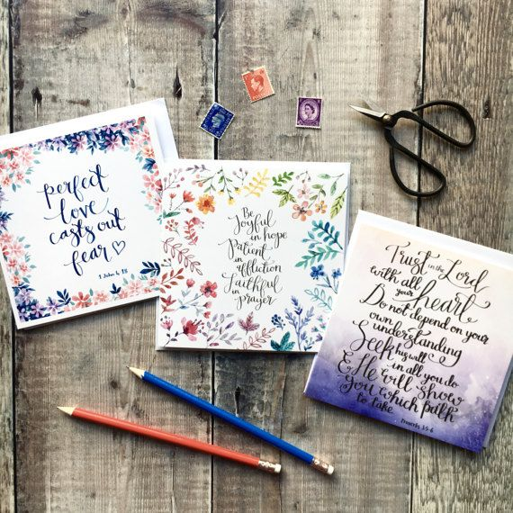 Trust Hope & Love  Pack of Luxury Square Cards  Card Sets