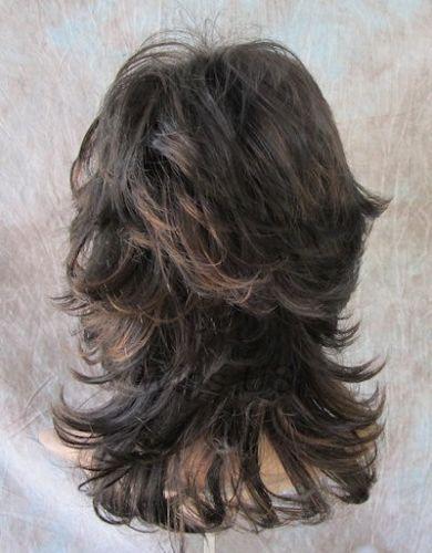 Peluca Medio Marrón Oscuro Castaño Mezcla Ondulado entrecortada Multi Capas flequillo pelucas de Estados Unidos
