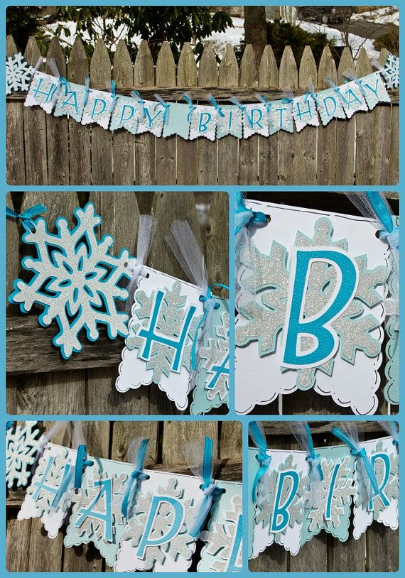 Frozen Birthday Banner Beautiful Sparkly by 4HeartsPaperCraftCo, $28.00