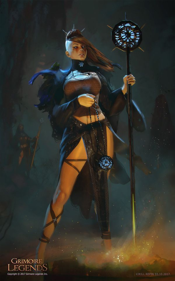 f Cleric staff or Warlock underdark Dark Sorcerer Girl, Kirill Repin on ArtStation at https://www.artstation.com/artwork/qK6en