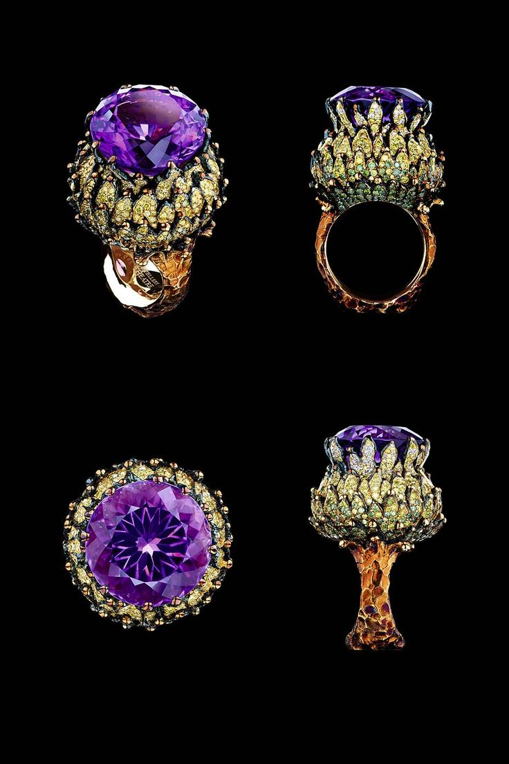 Jewellery Theatre Fairy Tales ring features white, yellow, green and yellow-green diamonds and a 20.12ct amethyst.