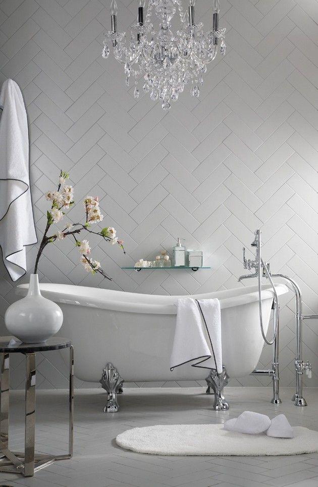 white bathroom with feature white herring bone wall interior design ideas renovation ideas white home