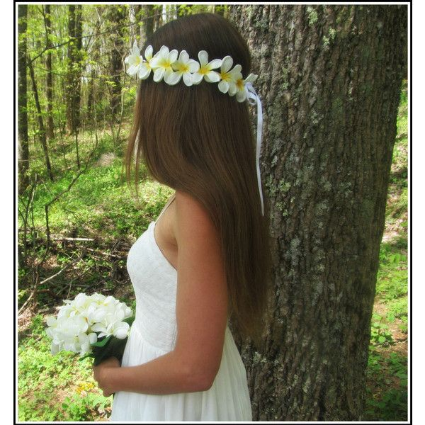 Plumeria Headband White Flower Hawaiian Lei Luau Hippie Tropical Hula... (99 BRL) ❤ liked on Polyvore featuring accessories, hair accessories, dark olive, headbands & turbans, white garland, white headband, flower headbands, hippie flower headbands and flower crown