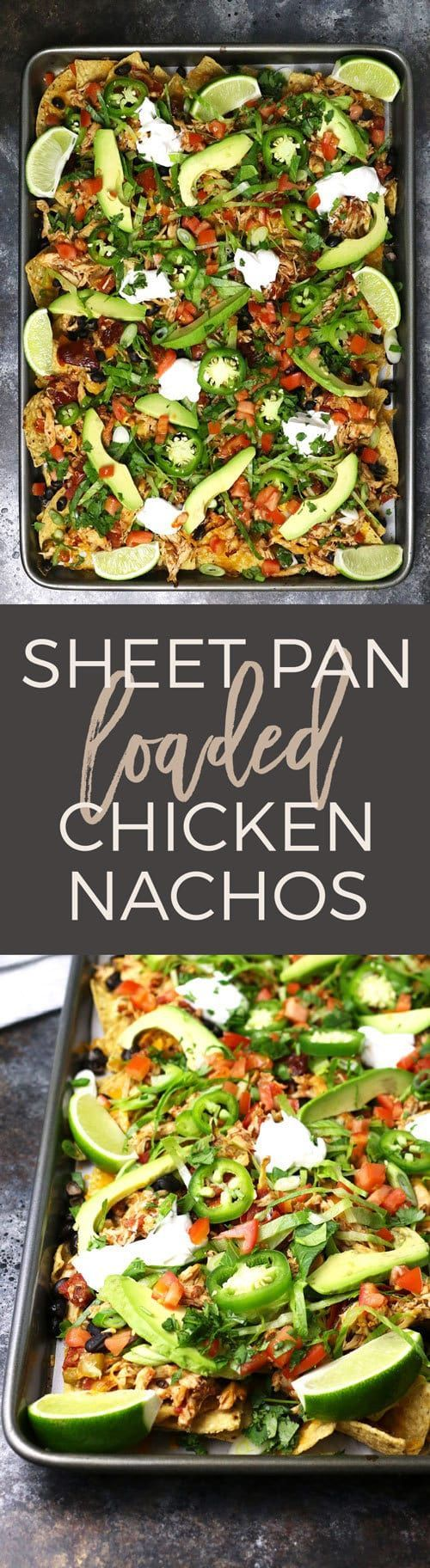 These sheet pan loaded chicken nachos are delicious AND easy to make! Make theslow cooker chicken the night before or the morning of to save time.Thisappetizer is the perfect game day recipe and it'salso great for large holiday gatherings! #gameday #nachos