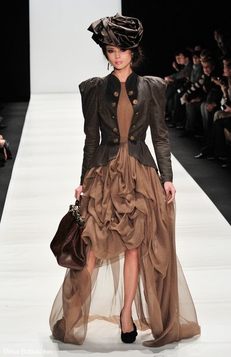 Brown Sheer Dress along with Satin Hat with Dark Brown Custom Leather Jacket & Purse