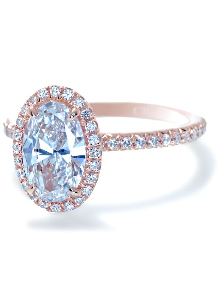 Trendy Rose Gold Oval Halo Diamond Engagement Ring by Ascot Diamonds Washington D C