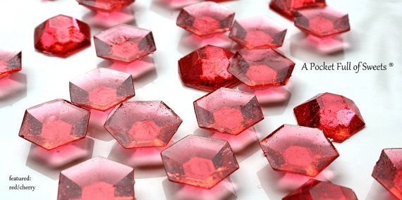50 RED STONE Minecraft Party Sugar Gems Jewels Rupees Cupcake Toppers Cake Decor Gifts Ready to Ship