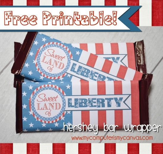 {FREEBIE!!} Patriotic Hershey Bar Wrapper - My Computer is My Canvas