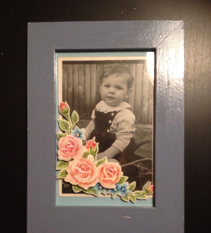 Baby billeder pyntet med blomster