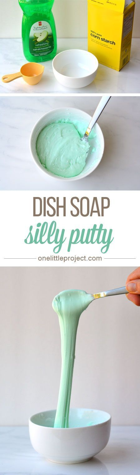 This dish soap silly putty is so EASY! You can whip up a batch in less than 5 minutes using two simple ingredients you likely have in your kitchen already.