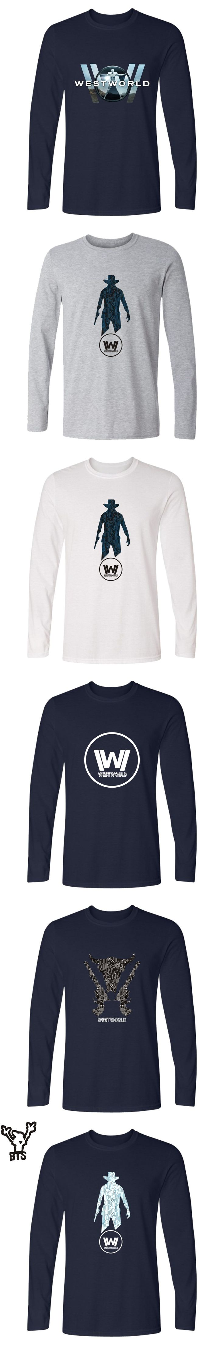 TV Series Westworld Pringting Cotton Long Sleeve T-shirts Men And Plus Size Hot Sale West World Pullover T Shirt Men Clothes