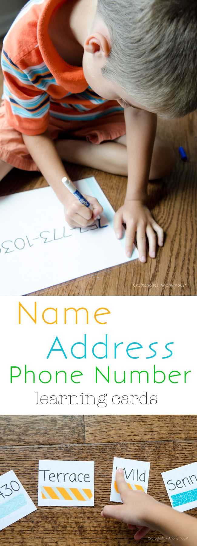 Make Kindergarten prep cards- Name, Address, Phone number to help teach Preschoolers.