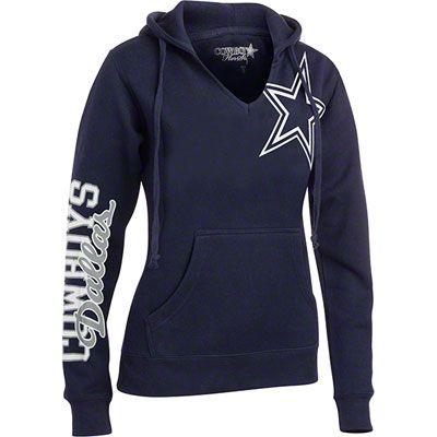 Dallas Cowboys Women's Navy Jersey Notch Halle Hooded Sweatshirt