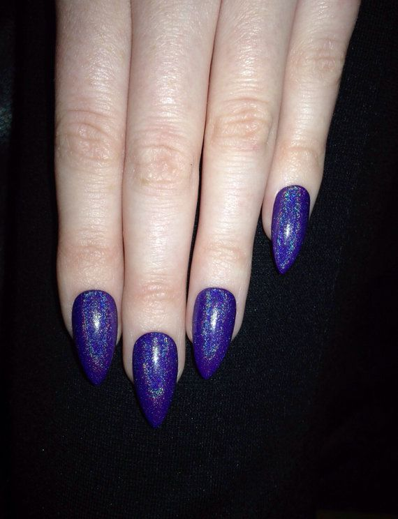 Holographic purple stiletto nails Nail by prettylittlepolish