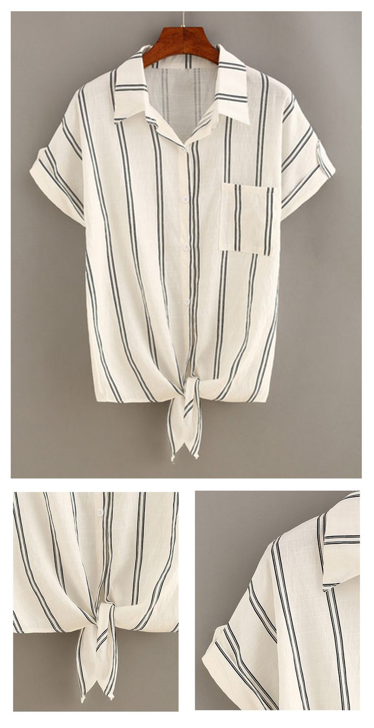 Street fashion for girls-Vertical Striped Knot-Front Blouse. Striped tops become must-have for fashion icons. Versatile & easy-wear.This is a lapel one with pocket. Simple & adorable!