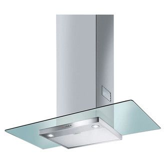 Image of Smeg 90cm Cooker Hood in Clear Glass Stainless Steel 90cm Cooker Hood