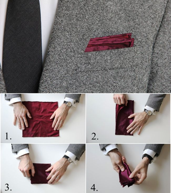 "‪#‎PocketSquare‬ - A small accessory that makes a big impact with a high style reward.. ""How To Fold The Classic Fold"" The Classic Fold is the simplest fold of the bunch. Wear it in casual situations or on a low-key first date. This fold is also a great showcase for solid pocket squares with colored borders. ‪#‎MensFashion‬ ‪#‎StyleTips‬"