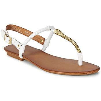 Dainy white sandals with gold detail by Dune @rubbersole
