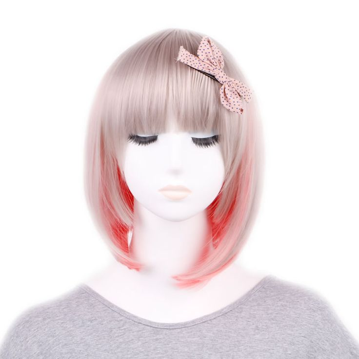 Synthetic Wigs Sweet Short Hair Light Grey With Pink Cute