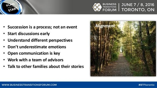 • Succession is a process; not an event • Start discussions early • Understand different perspectives • Don't underestimat...