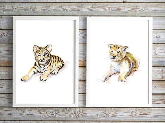 baby tijger schilderij  leeuwtje aquarel  illustratie leeuw