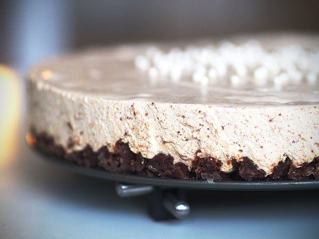 Pätkis flavored (mint chocolate) cheese cake.