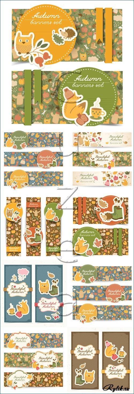 Осенние баннеры с желтыми листьями и животными - детские векторные фоны