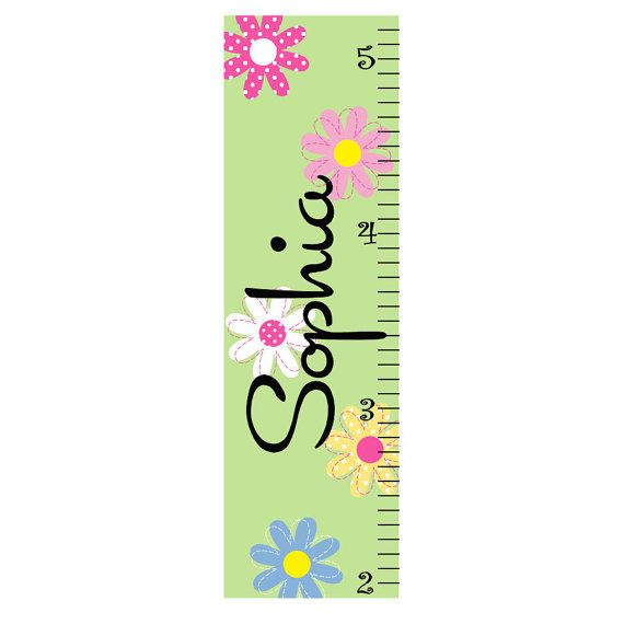 Daisy Garden Growth Chart Personalized by onehipstickerchic, $34.95 LOOK AT THE CHOICES AND THE COORDINATING WALL ART
