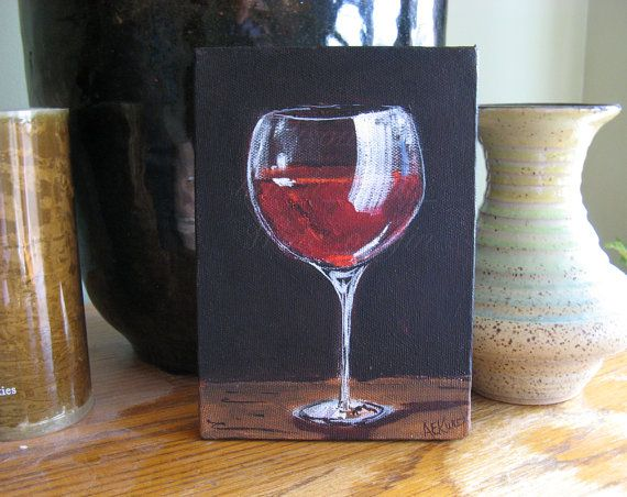 Red wine glass original 5 x 7 acrylic by silentmylostudio for Acrylic paint on wine glasses