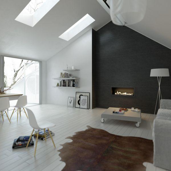 Scandinavische eenvoud. Sfeervol. Zolder met haard #zolders #interieur by Planika, via Behance
