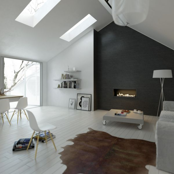 Modern living with fireplace