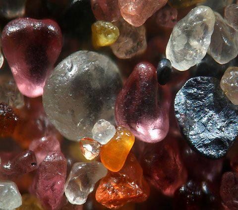 Magnified Sand #4. We just got access to some more amazing macro-photos of Dr Gary Greenberg's Grains of Sand, which show their magnificent colours, shapes and textures when viewed at a magnification of over 250 times real life. As Dr Greenberg says: 'It is incredible to think when you are walking on the beach you are standing on these tiny treasures'.