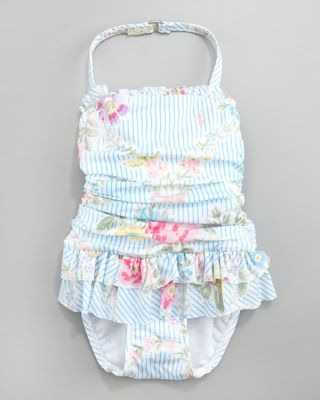 Baby girl swimsuit by Ralph Lauren Remember the rule about newborns and pools: *********Make sure the water is warm enough, preferably between 85 and 87 degrees Fahrenheit. This is especially important for infants who can get hypothermia when exposed to water below 85 degrees.******