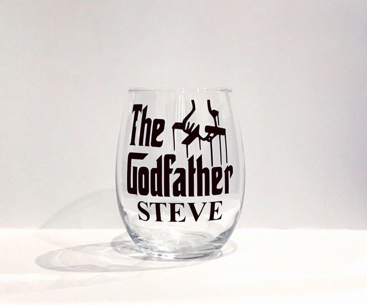 A personal favorite from my Etsy shop https://www.etsy.com/listing/512287468/the-godfather-glass-christening-gift