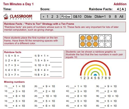 Free K 2 Worksheets Course Week 4 Rainbow Addition Facts
