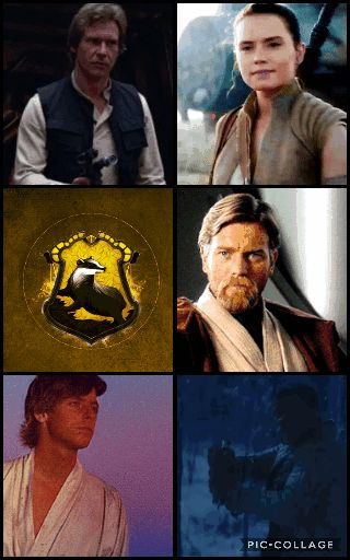 Star Wars Characters + Hogwarts Houses: Hufflepuff. Fan Edit by Pretentious Shirley. Han Solo, Rey, Obi-Wan/Ben Kenobi, Luke Skywalker, Finn/FN-2187.