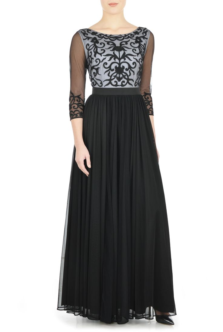 eShakti Women's Embroidered two-tone tulle maxi dress